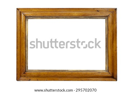 Light colored wooden picture frame isolated with inner and outer clip paths