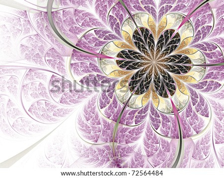 Light colorful fractal flower, detailed pattern - stock photo