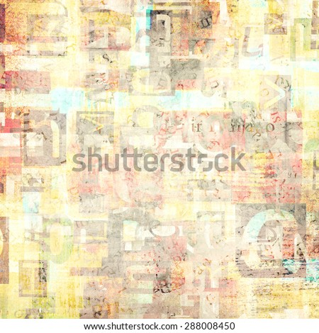 Light colorful newspaper, magazine collage letters background. - stock photo