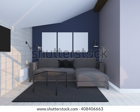 Light coloured modern interior. 3d render