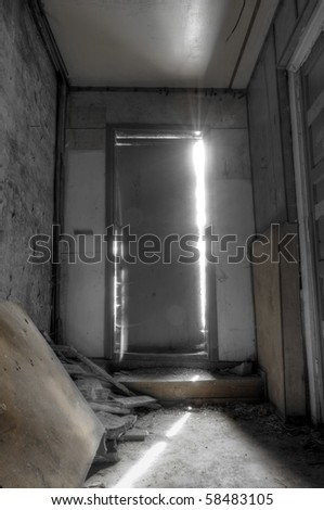 Light Coming Through Closed Door - stock photo