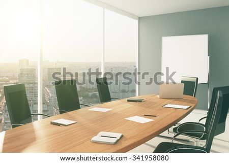 Light conference room with furniture, blackboard and city view 3D Render