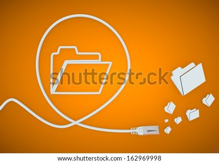 Light cyan  sorted cable 3d graphic with fresh folder icon formed by an cable - stock photo