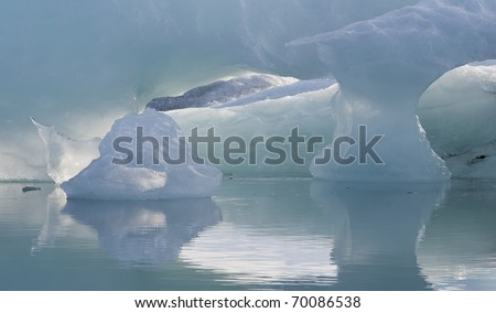Light effect and Icebergs at Jokulsarlon lagoon - stock photo