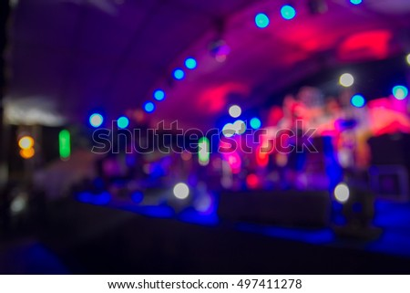 Light flare of blurred background night scene in concert party