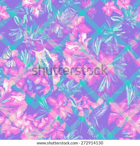 Light floral pattern of tropical flowers and flying birds of paradise. Watercolor Hummingbird and exotic plants on blue geometric background. Zig zag pattern on a floral ornament - stock photo