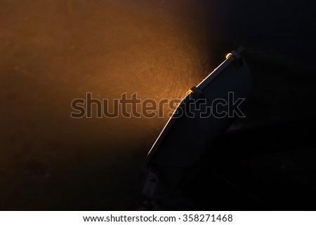Light from sport light at night - stock photo