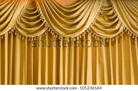 Light Gold fabric Curtain for web page background - stock photo