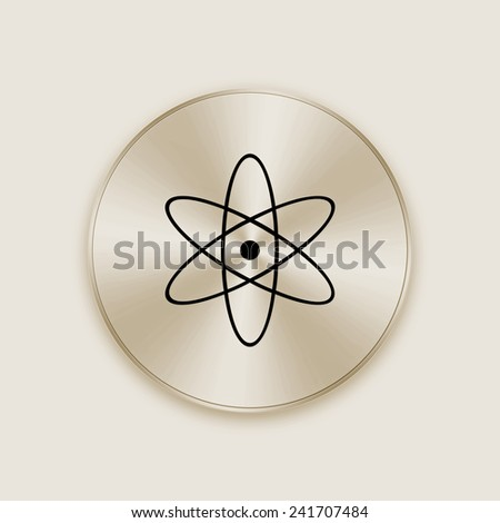 Light gold metal button with nuclear icon - stock photo