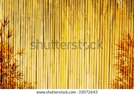 Light Golden bamboo Background great for any project. frame of bamboo-leaves background. Please take a look at my similar bamboo-images - stock photo
