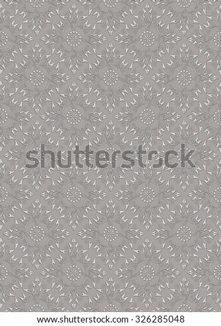 Light gray embossed openwork floral pattern on a beige seamless background  - stock photo