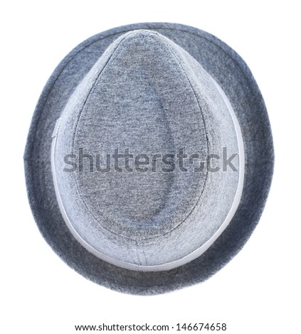 Light gray hat with a tape isolated over white background, view above - stock photo