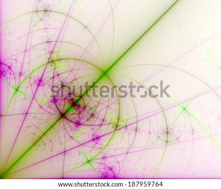 Light green and pink  abstract high resolution fractal background with a detailed pattern (flower-like alien structure with various decorative intersecting lines) coming out of the left lower corner