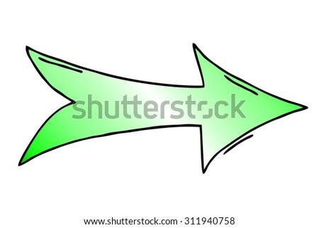 light green   arrow isolated on white - stock photo