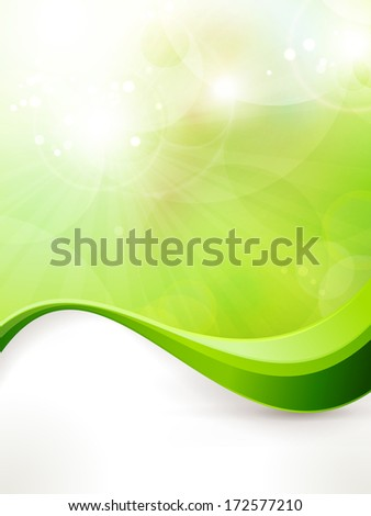 Light green background with blurred lights, light effects, sun burst and wave pattern. Great spring or green environmental background. Space for your text.  - stock photo