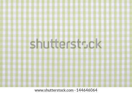 light green checkered fabric closeup , tablecloth texture - stock photo