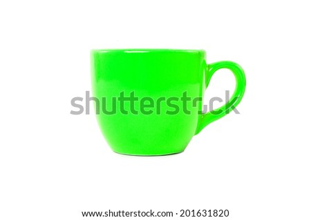 Light Green Cup Mug Isolated on white background.