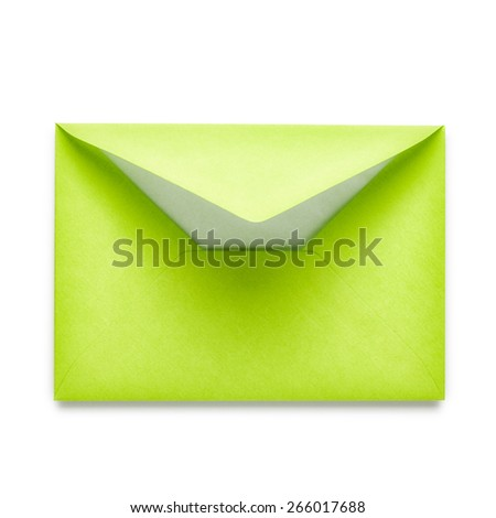 Light green envelope isolated on white background. - stock photo