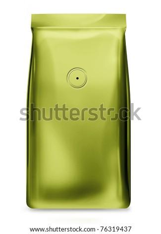 light green foil bag with valve - stock photo