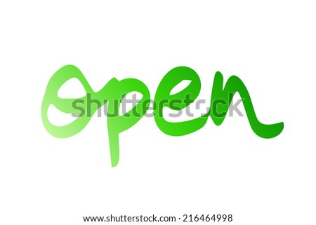light green handwritten open symbol