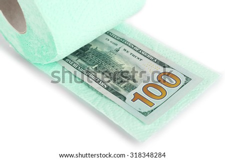 Light green roll of toilet paper and Euro banknote isolated on white