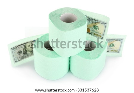 Light green rolls of toilet paper and dollar banknotes isolated on white - stock photo