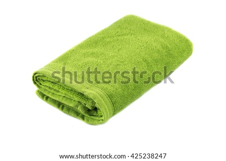 Light green soft bath towel isolated on white background