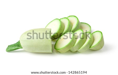 light green turkish zucchini's (Cucurbita pepo) on a white background with clipping path