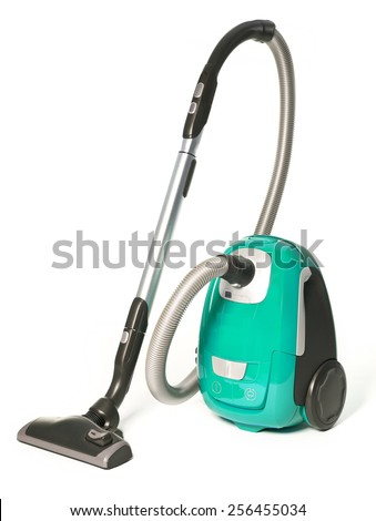 Light Green Vacuum Cleaner isolated on white background - stock photo