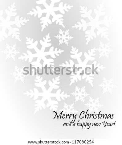 Light grey christmas background with snow flakes - stock photo
