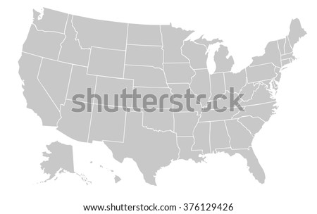 Light Grey Map United States America Stock Illustration - The united states of america map