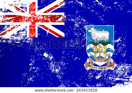 Light grunge effect flag of the Falkland Islands Raster version. - stock photo
