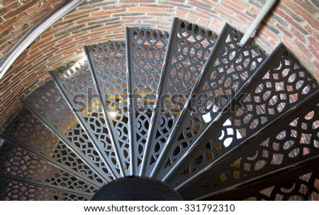 LIght house steps - stock photo