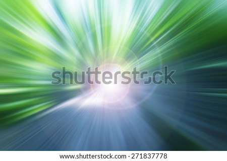 light in the end of green path in forest,abstract background - stock photo