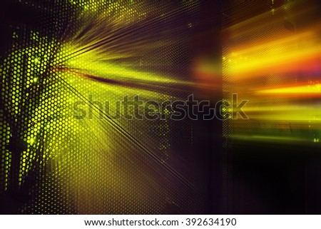 light indicators and motion on the mainframe data center in the dark - stock photo