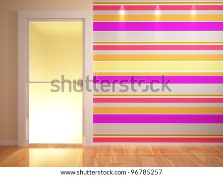 light interior with  glass door - stock photo