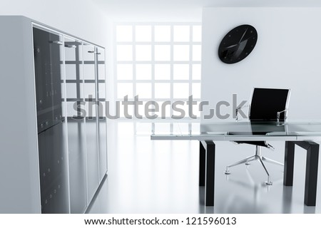 light modern cubicle with a table and an armchair