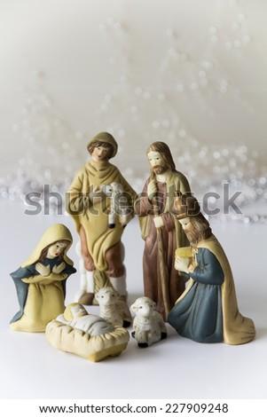 Light Nativity Scene - stock photo