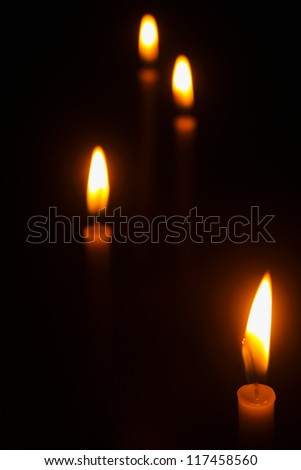 Light of candles on back background./Light of candles./Thailand.