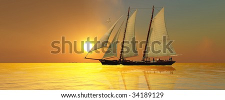 LIGHT OF LIFE - A beautiful sailing vessel passes the glorious sun.