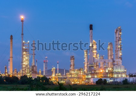 Light of petrochemical industry power station on sunset of Thailand