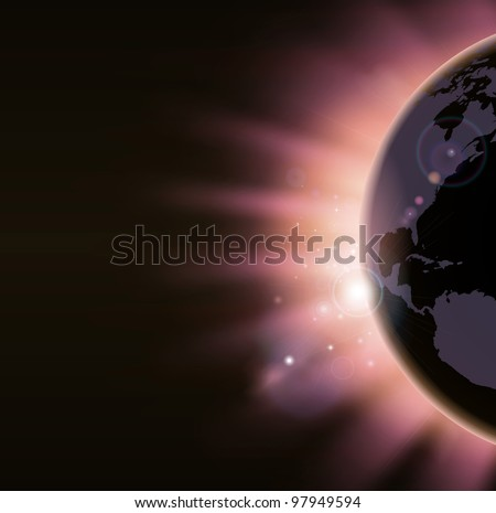 Light of sunrise appearing over the world globe in warm colors. America side visible. - stock photo
