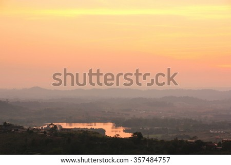 Light of sunset with mountain in Phetchabun province, Thailand