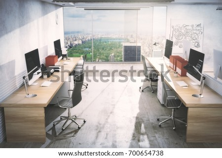 Light office room interior with workplace, equipment, city view and daylight. Real estate, workspace, business concept. 3D Rendering