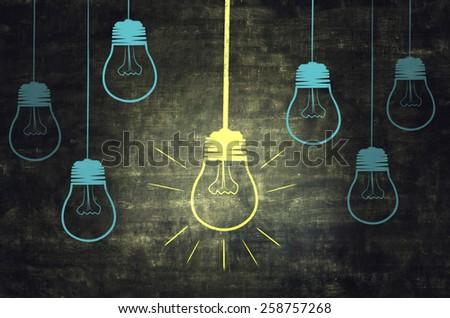 Light On Chalkboard - stock photo