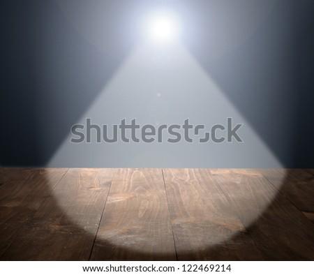 Light on wooden floor in empty room - stock photo