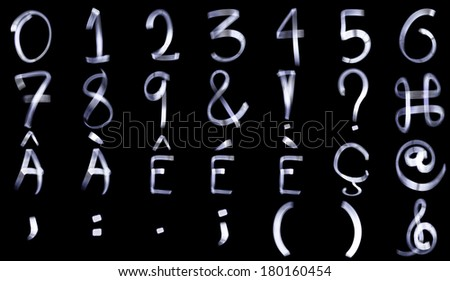 Light Painting Special Characters for French Language and Numerals Alphabets - stock photo