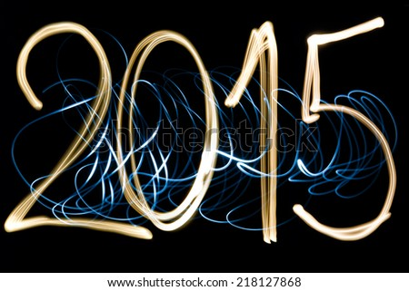 light painting year 2015 - stock photo