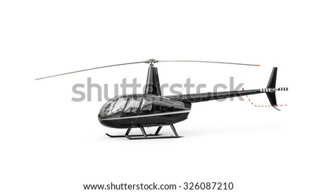 Light passenger helicopter isolated on a white background. Clipping path included. - stock photo