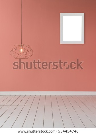light pink color wall with modern lamp and empty concept, frame